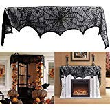Wrightus Halloween Decorations Cloth Spiderweb Fireplace Scarf Black Lace Cobweb Mantle Cover Festive Indoor Party Supplies Favors Props 18 x 96 inch Review