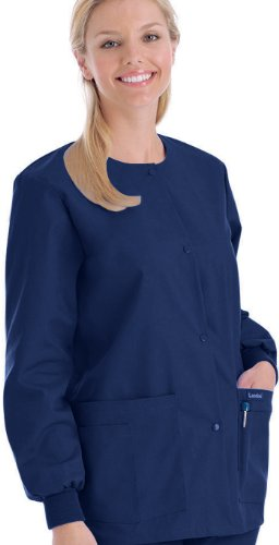 Landau Women's Crew Neck Warm-up Solid Scrub Jacket Small Patriot Blue Patriots Crewneck