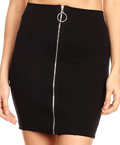 Sakkas 17-5193 - Maraya Women's Stretchy Slim Bodycon Basic Solid Mini Skirt Made in USA - Black - L