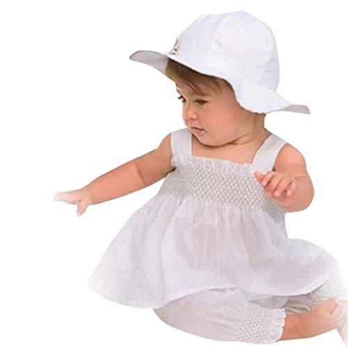 3pcs Children's Kids Girls Long Sleeve Tops Blouse+Hat+Suspender Party Skirt Set Outfit White