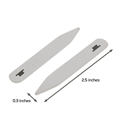 MODERN GOODS SHOP Stainless Steel Collar Stays With Laser Engraved Whole Rest Design - 2.5 Inch Metal Collar Stiffeners - Made In USA by Modern Accessories Co (Image #2)