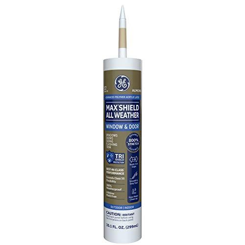 GE Max Shield All Weather Siliconized Acrylic Latex Sealant Caulk, Almond, 10.1oz