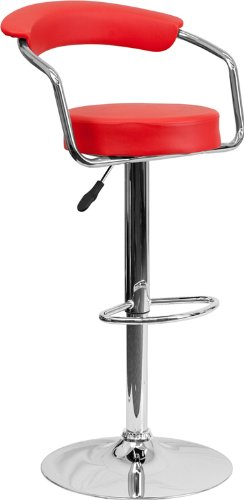 2 Pk. Contemporary Red Vinyl Adjustable Height Bar Stool with Arms and Chrome Base