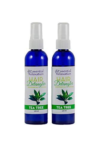 Tea Tree Hair Detangler Spray to Remove Knots and Deter Head Lice 120mL 2 Pack