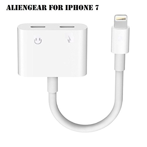 iPhone 7 Adapter, iPhone 7 Converter, Dual Lightning Headphone Audio & Charge Adapter for iPhone 7 / 7 Plus (Support iOS 10.3 and iOS 11)