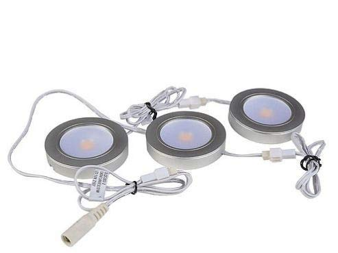 Exclusive, Energy Saving LED Puck Light - Warm White 3000K - Under/in Cabinet and Furniture, Task Lighting, recessable - 120v/110v - Dimmable - Line-Voltage - Plug & Play Set 3 Pack by Portola Electric (Image #4)