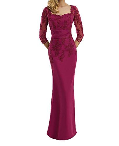 Spitze Langarm Dunkel Abendkleider Pink Etuikleider Trumpet Pink Bodenlang Festlichkleider Charmant Partykleider Damen AwqxEE