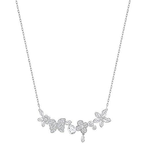 (Swarovski Eden 5182028 Pave Butterfly & Flower Rhodium Plated Necklace)