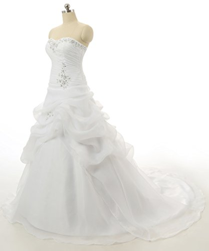 Vantexi Women's Strapless Ruffled Organza A-line Wedding Dress Ivory Size 30
