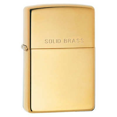 Zippo Lighter - Solid Brass with Lettering High Polish Brass (Solid Brass Zippo Lighter)
