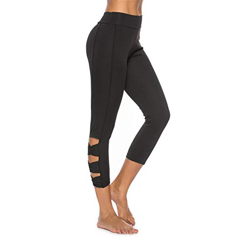 - Thenxin Yoga Capri for Women High Waist Cutout Slimming Workout Sports Running Legging Pants(Black,XL)