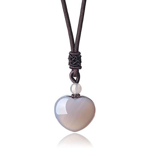 AmorWing Adjustable Womens Girls Grey Agate Love Heart Shape Genuine Stones Pendant Necklace Stone Heart Shape Pendant