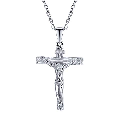 (U7 Sterling Silver Crucifix Cross Necklace Jesus Christ Baptism Gift, Chain 18