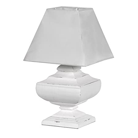 1534c0e4d475 French Shabby Chic White Wooden Squat Urn Table Lamp Light with Shade:  Amazon.co.uk: Kitchen & Home