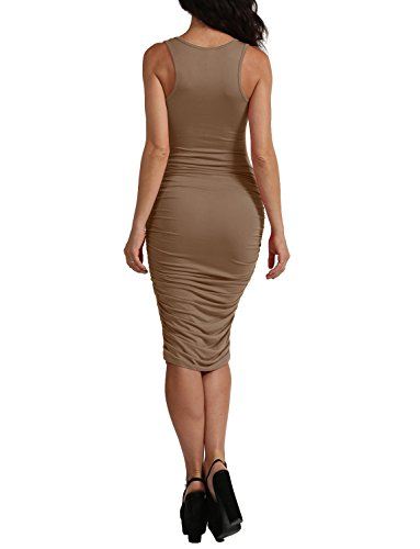 Made Midi Sleeveless Sexy Side Ruched With In Womens USA J LOVNY Jlwdr91 Dress mocha pXqwfz8