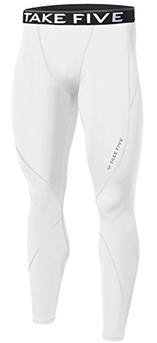 New Men Sports Apparel Skin Tights Compression Base Under Layer Long Pants (M, NP502 WHITE)