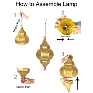 Lalhaveli Vintage Decorative Moroccan Hanging Pendant Light Fixture/Indoor & Outdoor Home Decor Ceiling Light for Living Room, Bed Room, Garden, Balcony & Patio, Metal Polished Brass Finish by Lalhaveli (Image #5)