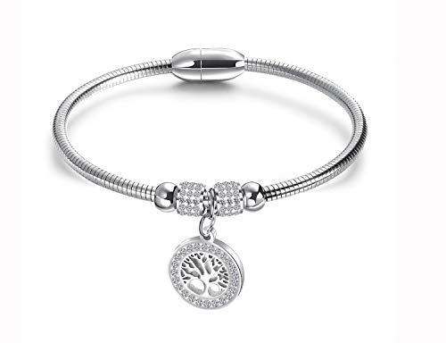 WSQJPER888 Bracelet, Ladies Adjustable Cufflinks with Diamonds Life Tree Titanium Steel Magnet Bracelet, Temperament Wild Birthday Gift Girl Fashion Bracelet (Silver Black Gold) (Color : 1pair)