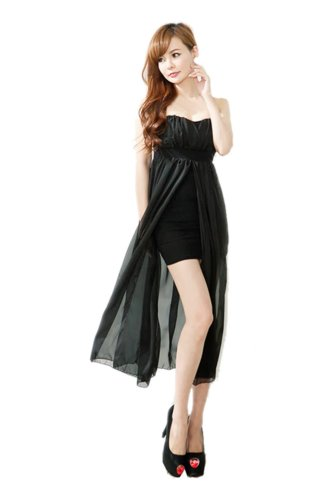 Empire Waist Long Strap Women's Black Dress Split Fashion CA w4p7qW