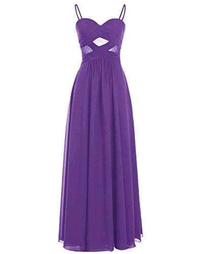 Attraverso Chiffon Alagirls Vestito Scuro Vedere Lungo Spalline Viola In Abito Promenade Da CCRqXzaw
