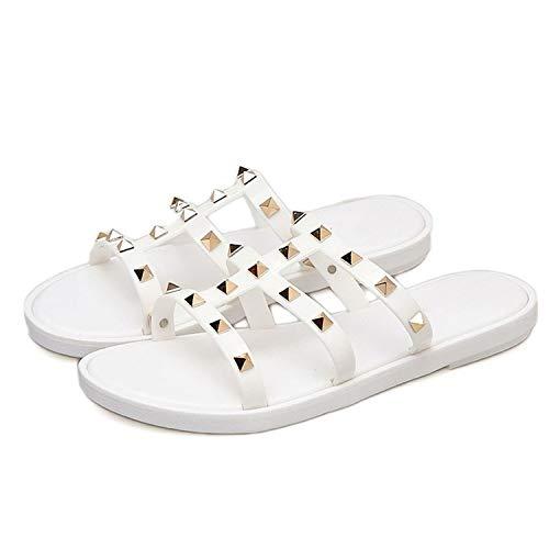 Women Slides Summer Rivet Slippers Women Shoes Flip Flops Sandals Upstream Lady Shoes,White ()