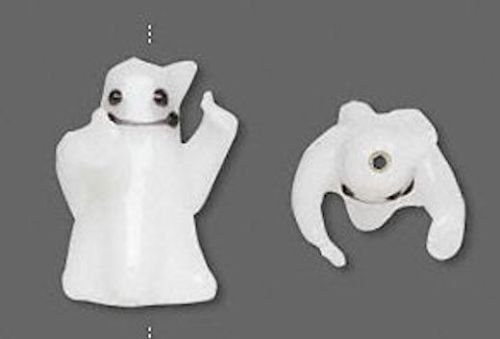 4 White Ghost Halloween Lampwork Glass Beads for