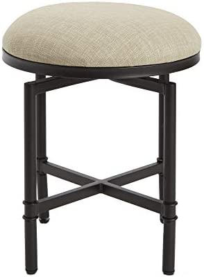 Silverwood Vanity Bench, Oil Rubbed Bronze and Linen