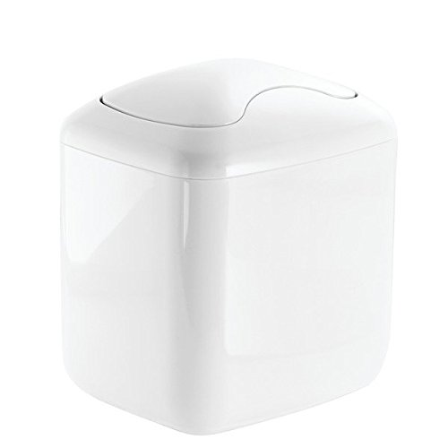 Baby Nursery Changing Table Wastebasket Trash Can with Swing Lid - 2.8-Quart, White