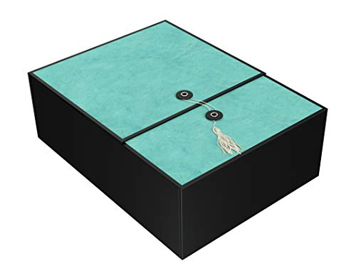 Gift Box Emerald Karma 12x9x4 Pop up in Seconds Comes with Decorative Tassel, Greeting Card, and Tissue Paper - No Glue or Tape Required