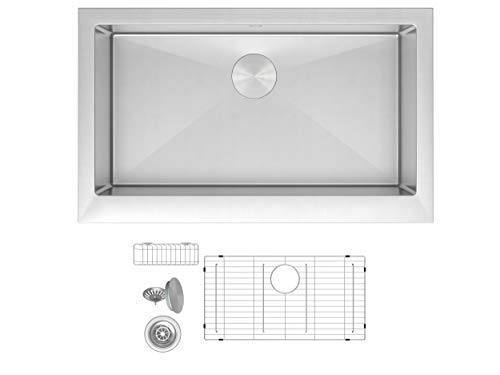 ZUHNE Trento 33 Inch Single Bowl Farm House 16G Stainless Steel Kitchen Sink, Scratch Protector Grid, Caddy and Strainer - Short Straight Apron