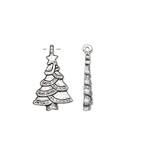 Jewelry Making Charms 10 Antique Silver Plated Christmas Tree Charm Beads 25MM