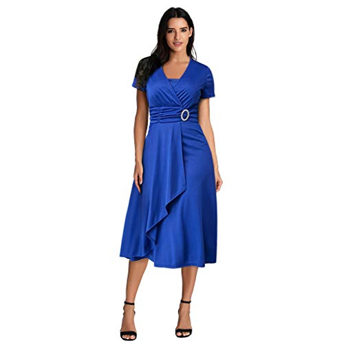 Pengy Women Plus Size Dress Summer Sexy Asymmetric Hem Skirt Sexy V-Neck Ruffled Party Evening Dress Blue]()