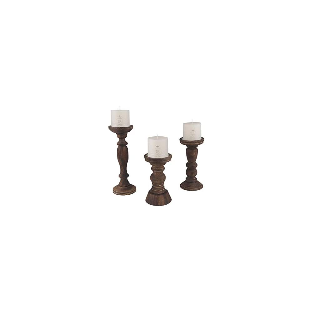 Farmhouse Candle Holders (Wooden | Set of 3) for Pillar Candles Lightly Distressed Wood for Traditional, Rustic, Vintage…