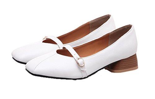 Puro Basso Punta Bianco Flats Luccichio Tirare Ballet Quedrata VogueZone009 Tacco Donna 0qYvH