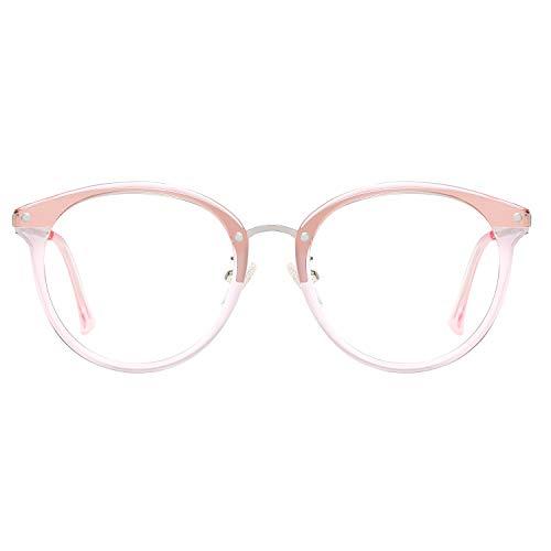 SOJOS Retro Round Blue Light Blocking Glasses TR90 Computer Eyeglasses Ashley SJ9001 with Pink Frame/Anti-Blue Light Lens
