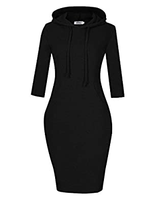 MISSKY Women Pullover Stripe Pocket Knee Length Slim Sweatshirt Causal Hoodie Dress