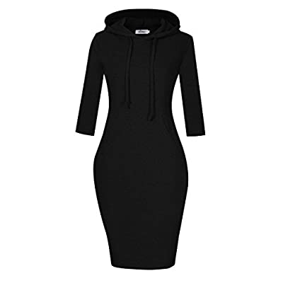 MISSKY Women Stripe Pocket Knee Length Slim Casual Pullover Hoodie Dress at Women's Clothing store