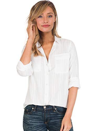 CAMIXA Womens White Shirt 100% Cotton Casual Two Pockets Button-Down Blouse Top L White Seersucker