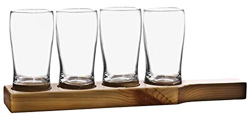 Home Essentials & Beyond Beer den 9 oz Pilsner Glasses Set of 4 with Wooden Plank Clear Elegant Finest Quality Drinking Glassware Perfect for Homes & Bars for Juice, Beer, Alcoholic Beverages or Water ()
