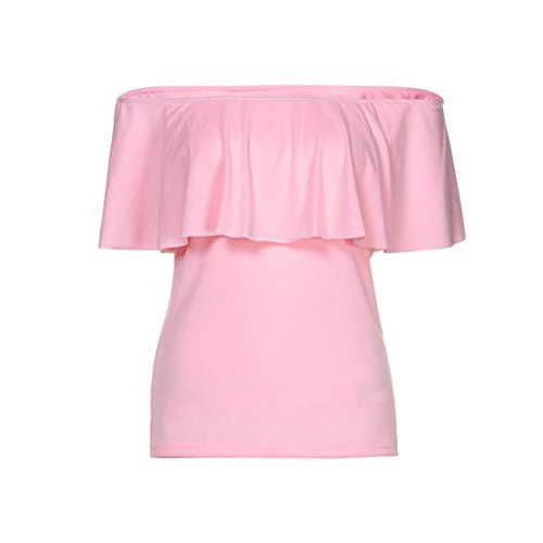 Blouse Tuniques Manches Femmes shirt Solid Tee T épaule Femme Off Longues Rose Sexy Chemise manadlian Tops wxHRAqa