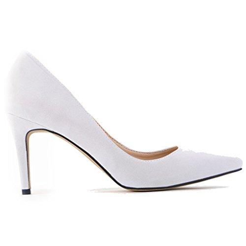 Femmes Bas Chaussures Blanc Xianshu De Suede Talon Haut Pointu Bouts Extrémité Pointe Pompes 8awdnxZq