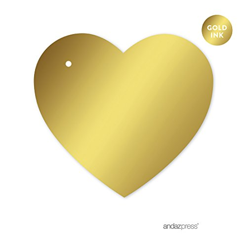 Andaz Press Heart Favor Gift Tags, Metallic Gold Ink, Solid Gold, 30-Pack, Not Gold Foil, For Party Favor Boxes, Christmas Favors
