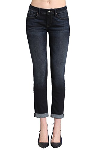 Mavi Women's Emma Mid Rise Slim Boyfriend, DEEP Brushed Tribeca, 25/32