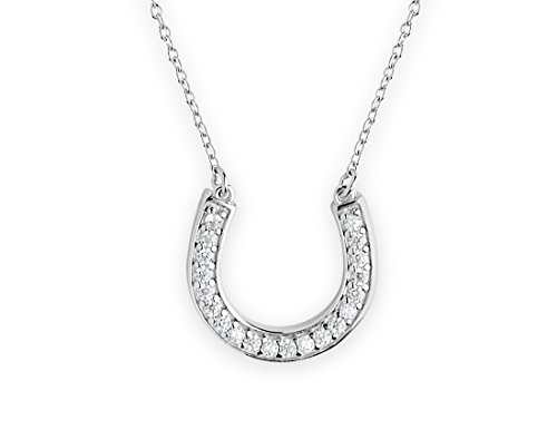 Sterling Forever - Lucky, 925 Sturdy Sterling Silver Horseshoe Pendant Necklace with CZ Stones for (Diamond Lucky Horseshoe Pendant)