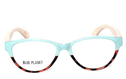 BLUE PLANET Reading Glasses Eco Friendly Women Sustainable Bamboo Ladies Designer Eyeglasses (+1.25, Turquoise - Glasses Blue Planet