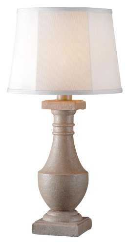 - Kenroy 32223COQN Patio - One Light Outdoor Table Lamp, Coquina Finish with Clear Glass with Gray Tweed Shade