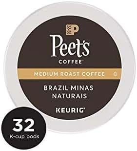 Peet's Coffee Brazil Minas Naturais, Medium Roast, 32 Count Single Serve K-Cup Coffee Pods for Keurig Coffee Maker