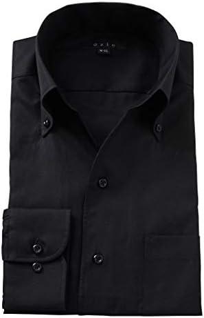 【メンズ・ワイシャツ・カッターシャツ】スリム・長袖・綿100%・イタリアンカラー・ボタンダウン・スキッパー 黒