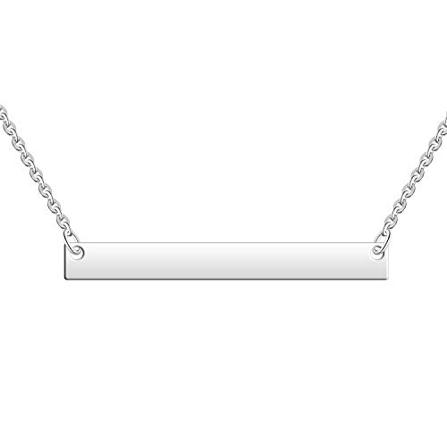 - JO WISDOM 925 Sterling Silver Bar Pendant Necklace with White Gold Plated, Chain Length 40+5cm