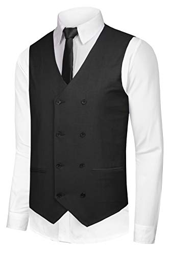 Hanayome Men's Double-Breasted Leisure Business Suit Dress Vest Waistcoat VS02 (Black, XL) -